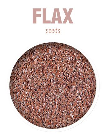 Flax seeds background. Top view. Finished image for use on the package.