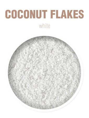 Coconut flakes background. Top view. Finished image for use on the package.