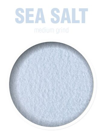 Sea salt, located behind a round hole with shadows from it, are isolated on a white background with an inscription Top view. Finished image for use on the package sea salt. Stock fotó