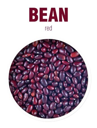 Red beans, located behind a round hole with shadows from it, are isolated on a white background with an inscription BEAN red. Stock fotó