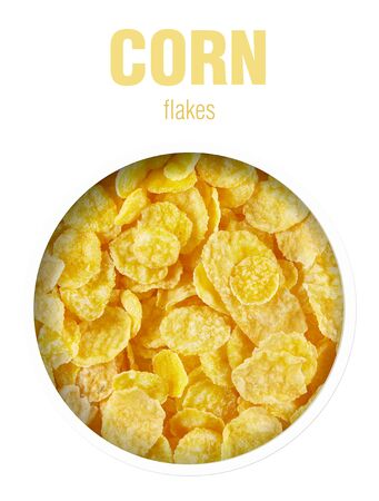 Corn flakes, located behind a round hole with shadows from it, are isolated on a white background with an inscription CORN flakes. Stock fotó