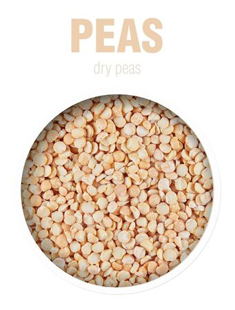 Peas dried, located behind a round hole with shadows from it, are isolated on a white background with an inscription Top view. Finished image for use on the package peas dry.