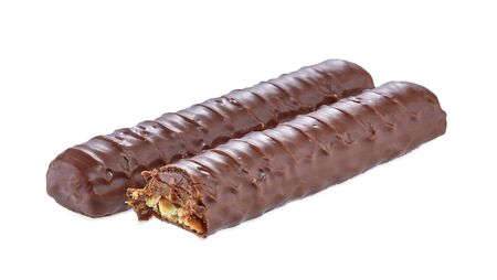 Two chocolate bar set with clipping path.