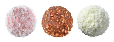 Set of three spherical chocolates from different varieties of chocolate, with nuts and coconut shavings, isolated on a white background. Full sharpness across the entire field of the frame. Standard-Bild - 134894937