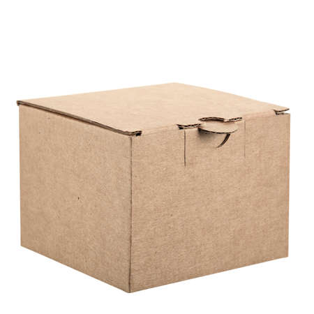 Small cardboard packaging box made of thick corrugated cardboard with an closed lid with a lock isolated on a white background.
