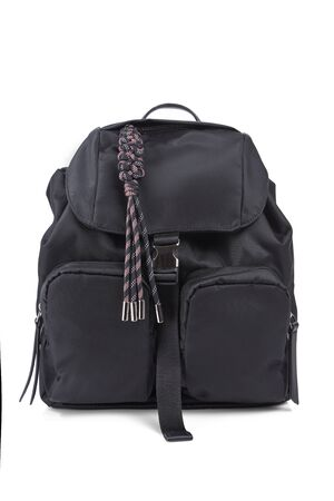 Black backpack isolated on a white background with shadows.