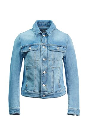 Blue denim jacket buttoned up with long sleeves on the dummy invisible, isolated on a white background. Imagens