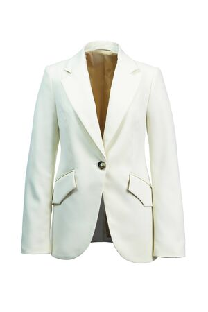 Elegant women's jacket made of thick white fabric, isolated on a white background. Imagens