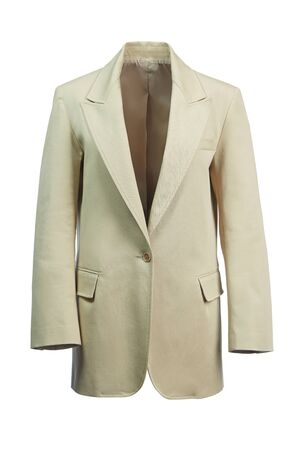Elegant women's jacket made of thick beige fabric, isolated on a white background.