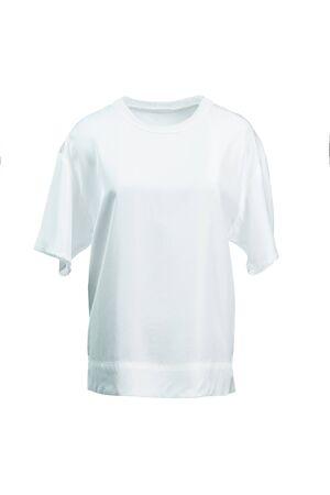 White silk women's t-shirt isolated on white. Imagens