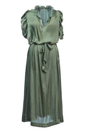 Long silk dress with short sleeves and a belt at the waist of a greenish-olive color, isolated on a white background.