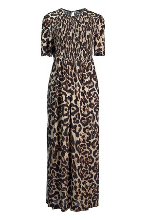 Long silk dress in leopard colors with short sleeves and elastic corset, isolated on a white background. Imagens