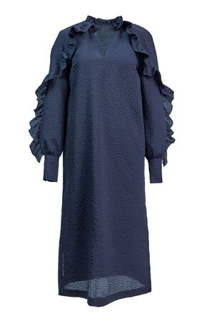 Long dark blue dress with long sleeves with cuffs and ruffles made of textured plain fabric, isolated on a white background.