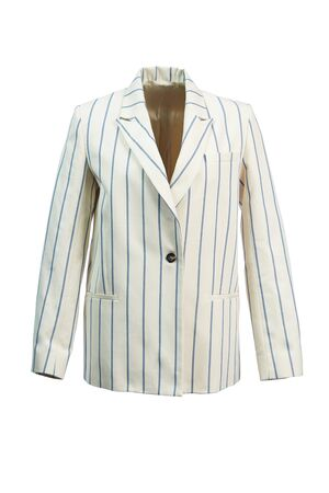Elegant women's jacket cream color with blue stripes made of thick fabric, isolated on a white background.