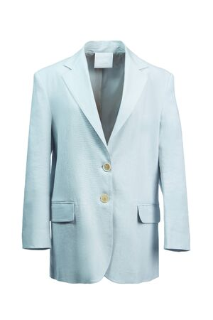 Elegant women's jacket made of thick light blue fabric, isolated on a white background.