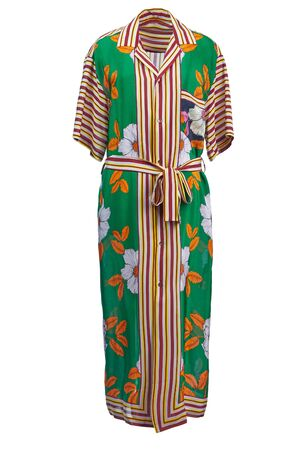 Long silk robe dress in bright green and orange floral tones with short sleeves and a belt isolated on a white background