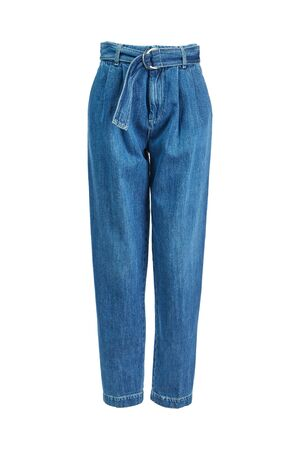 Women's blue jeans are wide at the top and narrowed at the bottom with a denim belt, isolated on a white background on an invisible mannequin.