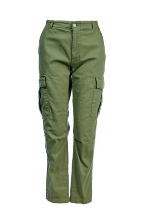 Women's green trousers with side pockets made of thick cotton, isolated on a white background on a Ghost mannequin.