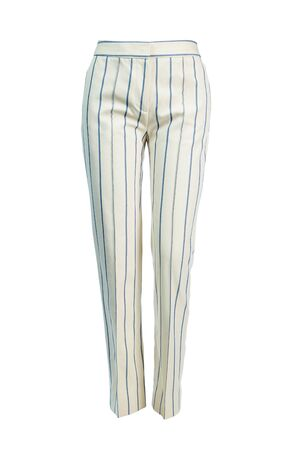 Women's long trousers in cream color with blue stripes with arrows, isolated on a white background on an invisible mannequin.