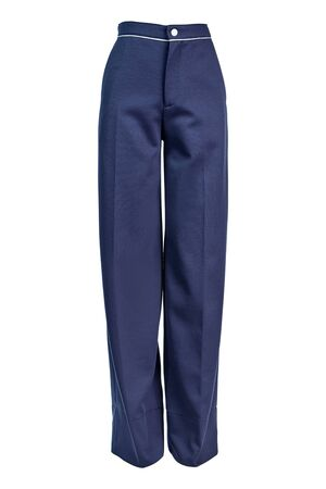 Women's long trousers made of blue polyamide with arrows, isolated on a white background on an invisible mannequin.