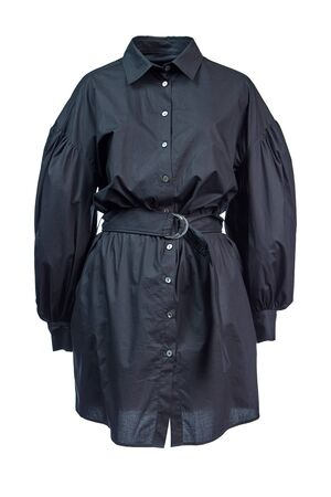 Long cotton shirt dress with sleeves and a belt at the waist in black, isolated on a white background on a transparent mannequin. Imagens