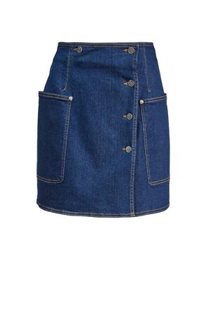 Women's denim skirt with side pockets and button closure, offset from the center isolated on a white background on a mannequin Ghost.