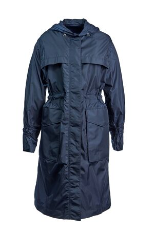 Long female warm raincoat of dark blue color with large pockets and a hood isolated on a white background.