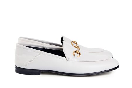 Men's lightweight shoes in thin white leather with an elegant metal buckle.
