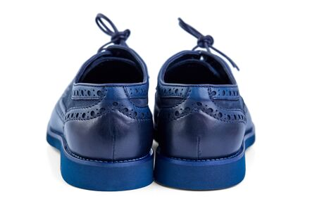 Men's classic blue soft leather shoes with perforated laces.