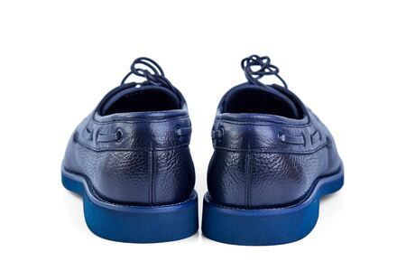 Men's classic blue leather shoes with laces and blue rubber outsole.