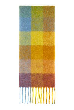 Beautiful warm winter scarf made of natural wool of warm tones of checkered with fringe, folded in half insulated on a white background.