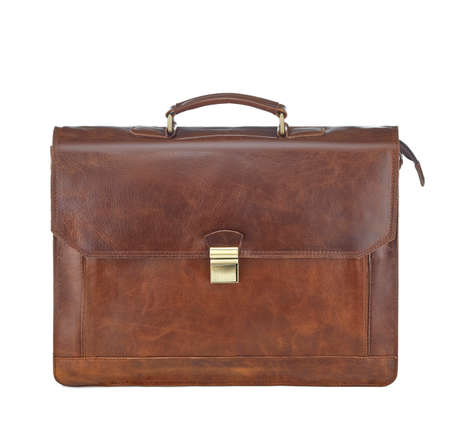 Beautiful red-brown leather briefcase with a clasp, isolated on a white background. Concept: business, document management, shares, capital investment, investment. Standard-Bild