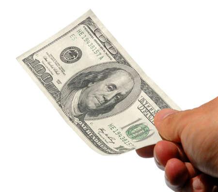 hand that gives money (one hundred dollar bill) Standard-Bild