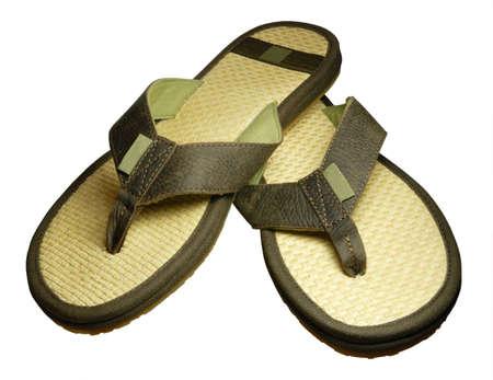 nice straw sandals isolated on white background Standard-Bild