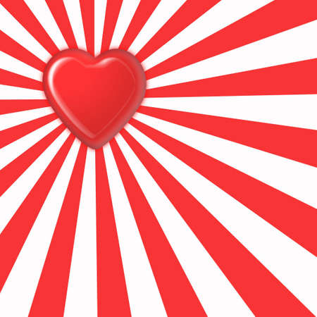 red heart on the striped background Standard-Bild