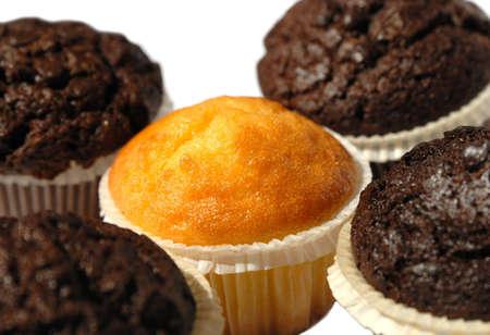 five muffins on a white background Standard-Bild