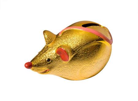 golden mouse style  box over white background Standard-Bild