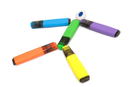 colorful markers isolated on white