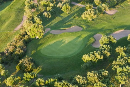 Aerial view of golf course Huelva Province, Spain 版權商用圖片
