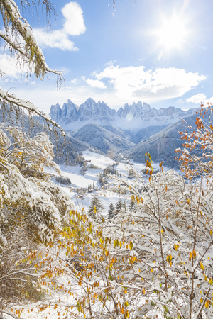 Winter snow at St. Magdalena village in the Val di Funes, Dolomites mountains, Trentino-Alto Adige, South Tirol, Italy