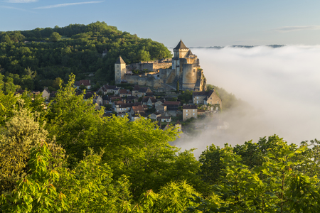 Morning mist, Chateau de Castelnaud, Castelnaud, Dordogne, Aquitaine, France