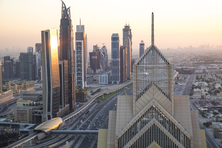 Elevated view over the modern Skyscrapers along Sheikh Zayed Road, downtown Dubai, United Arab Emirates, UAE