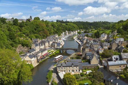 Rance River valley, Dinan harbour with Stone Bridge, Dinan, Brittany, France
