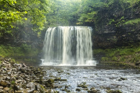 Sgwd yr Eira Waterfall, Brecon Beacons National Park, Wales, United Kingdom 版權商用圖片