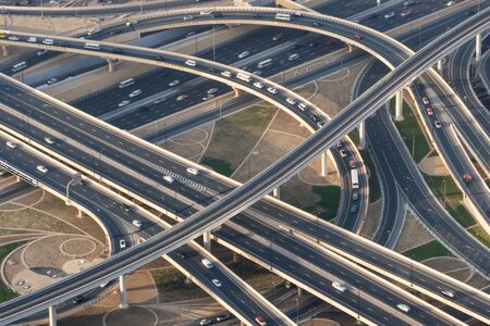 Flyover & freeway interchange, Dubai, United Arab Emirates, U.A.E.
