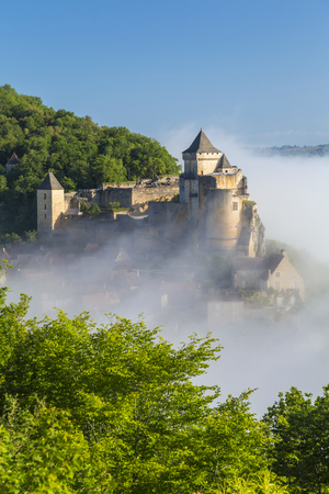 Morning mist in Chateau de Castelnaud, Castelnaud, Dordogne, Aquitaine, France Editorial