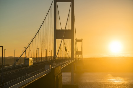 The Severn Bridge over the River Severn Estuary, Aust, Gloucestershire, England, United Kingdom 版權商用圖片
