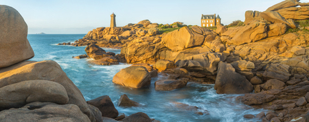 Ploumanach Lighthouse, Cote de Granit Rose, Cotes dAmor, Brittany, France