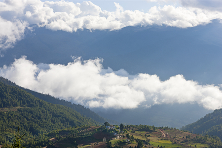 Shingyer village in Ura Valley Bumthang, Bhutan