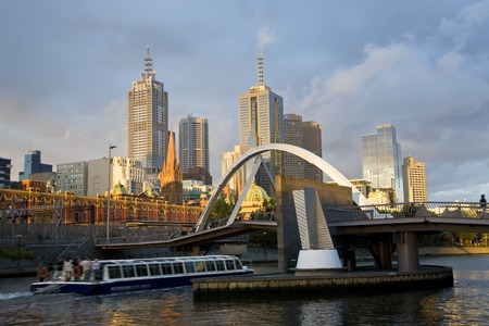 Australia, Victoria, Melbourne, buildings on bank of Yarra river